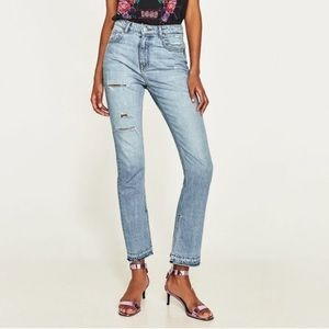 Zara high rise straight distressed jeans
